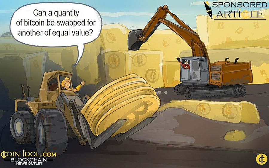 Can a quantity of bitcoin be swapped for another of equal value?