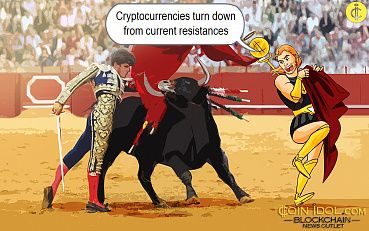 Cryptocurrencies Turn Down From Current Resistance as Markets Reach Overbought Regions